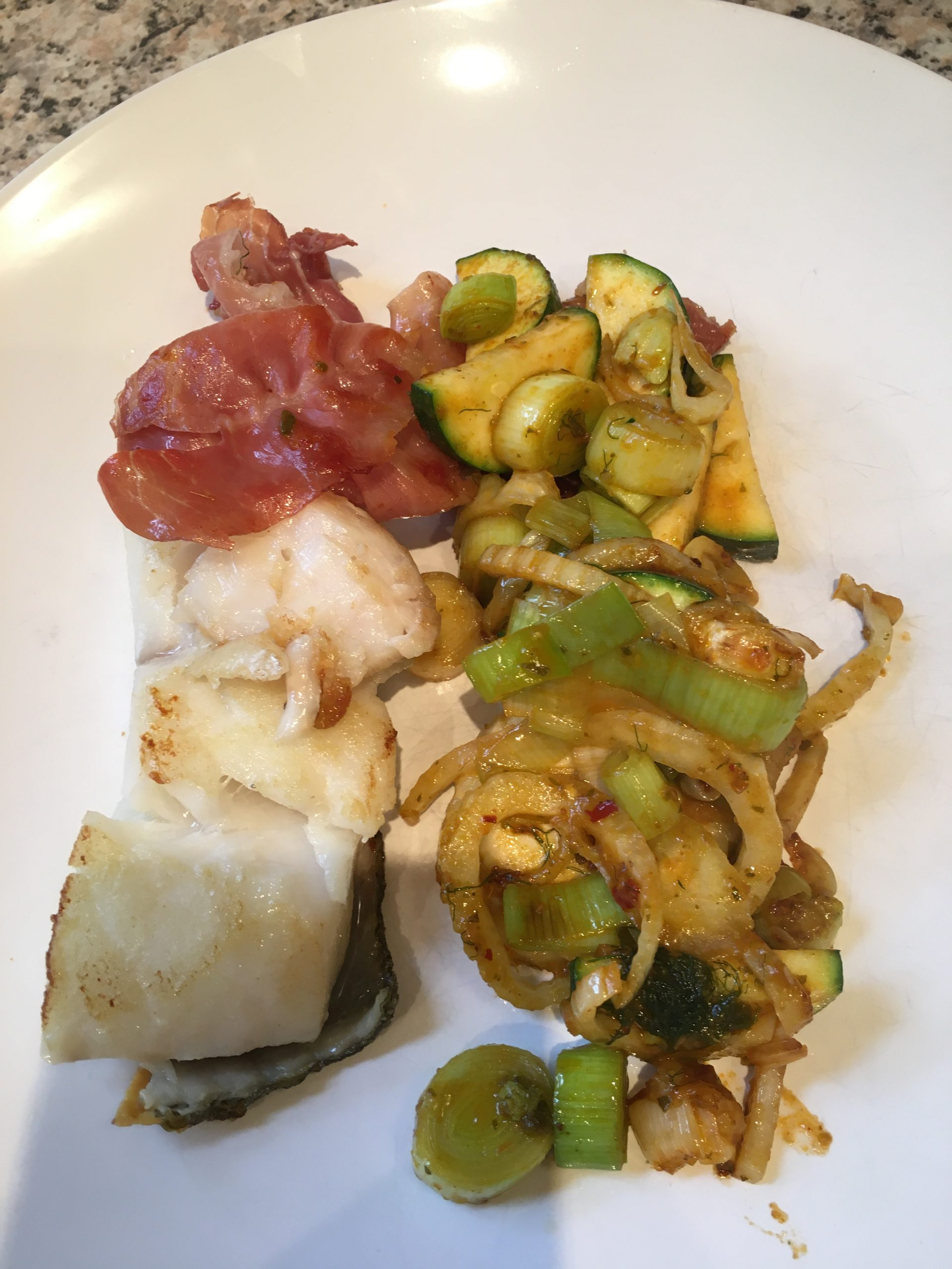 Cod with Prosciutto and Thai Red Curry Wok Fried Vegetables